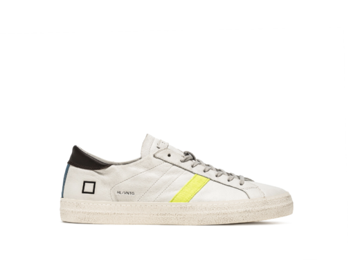 D.A.T.E. SNEAKERS HILL LOW VINTAGE CALF (WHITE-YELLOW)