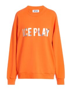 ICE PLAY Felpa con maxi logo iridescente (ARANCIO FLUO)